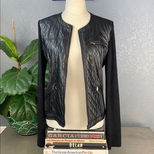 Cache black faux leather jacket large used